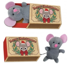 CHRISTMAS MOUSE IN A MATCHBOX 12X8X4CM