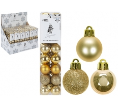 SET OF 32 2.5CM GOLD BAUBLES IN PVC BOX