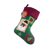Deluxe Plush Vintage Snowman Christmas Stocking 40cm X 25cm
