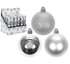 SET OF 5 6CM BAUBLES SILVER IN PVC TUBE