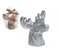 3ASSTD SMALL DEER HEAD CANDLE DECORATION IN OPP BAG W/RIBBO