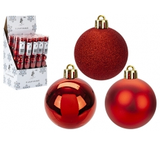 8 PACK OF 5CM BAUBLES IN RED