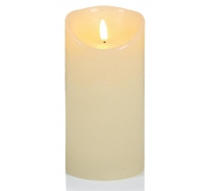 18x9cm Cream FlickerbrightTextured Candle with Timer