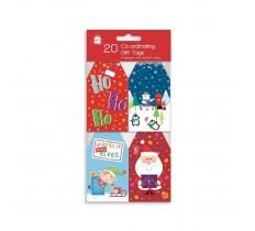 CHRISTMAS TAGS 20 CO-ORD NOVELTY
