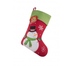 Deluxe Plush Red Snowman Christmas Stocking 40cm X 25cm
