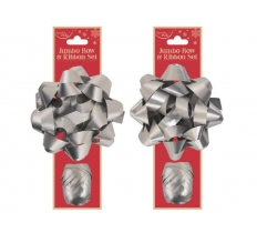 JUMBO BOW & RIBBON SET SILVER