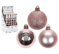 9 PACK OF 5CM BAUBLES IN ROSE GOLD