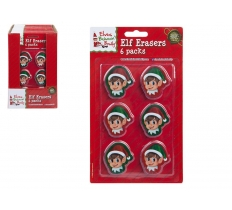 6PC ELF HEAD SHAPE 2D ERASERS ON BLISTER CARD