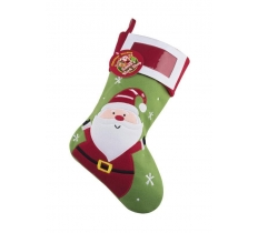 Deluxe Plush Santa PhotoinsertChristmas Stocking 40cm X 25cm