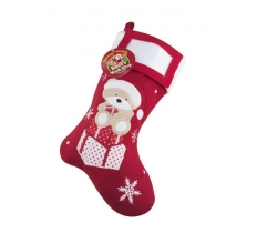 Deluxe Plush Teddy PhotoInsertChristmas Stocking 40cm X 25cm