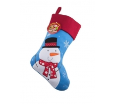 Deluxe Plush Blue Snowman Christmas Stocking 40cm X 25cm