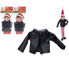 FAUX BLACK LEATHER JACKET WITH ZIP FOR ELF