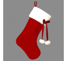 DELUXE PLUSH RED VELOUR 54CM STOCKING WITH POM POM TIES