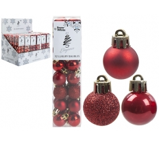SET OF 32 2.5CM RED BAUBLES IN PVC BOX