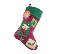 Deluxe Plush Vintage Reindeer Christmas Stocking 40cm X 25cm