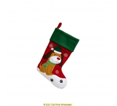 DELUXE PLUSH RED GREEN TOP CUTE DOG STOCKING 40CM X 25CM