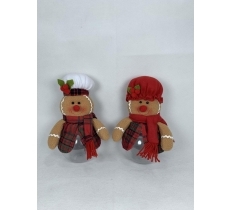 "10"" MR / MRS GINGERBREAD CHRISTMAS CANDY JAR"