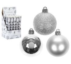 8PC SET OF 5CM BAUBLES IN SILVER