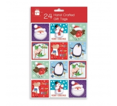 CHRISTMAS TAGS 24 HAND CRAFTED - NOVELTY