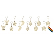 11cm Wooden Christmas KeyringSet-Colour Your Own - 6 Asst