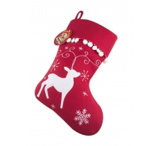 Deluxe Plush Reindeer Christmas Stocking 40cm X 25cm
