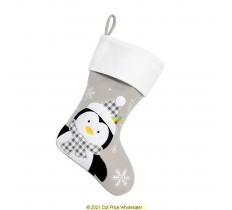 DELUXE PLUSH SILVER WHITE TOP PENGUIN STOCKING 40CM X 25CM