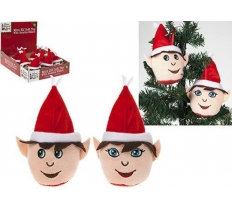"3.5"" BOY/GIRL PLUSH ELF HEAD ON HANGING STRING"