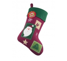 Deluxe Plush Vintage Santa Christmas Stocking 40cm X 25cm