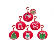 *** OFFER *** Round Red Plush Christmas Keyring