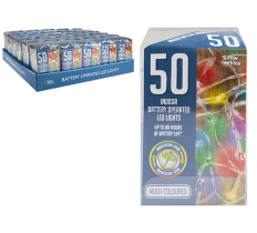 50 MULTI COLOURED LED FAIRY LIGHTS BATTERY OPERATED