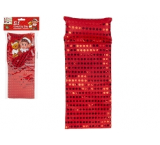 RED SEQUIN ELF SLEEPING BAG WITH PILLOW 12cm x 30cm