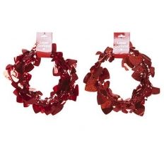 SHINY LAZER RED HEART SHAPED WIND GARLAND 63cm