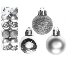 SET OF 24 3CM SILVER BAUBLES IN PVC BOX