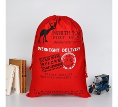 RED OVERNIGHT DELIVERY SANTA SACK 70CM X 50CM