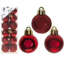 SET OF 24 3CM RED BAUBLES IN PVC BOX