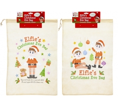 ELF CHRISTMAS EVE DRAW STRING NON WOVEN BAG 36cm X 55cm
