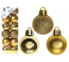 SET OF 24 3CM GOLD BAUBLES IN PVC BOX