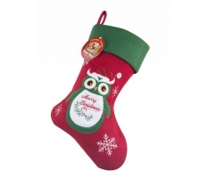 Deluxe Plush Owl Christmas Stocking 40cm X 25cm