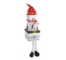 3PC SNOWMAN PLUSH BOX WITH LEGS