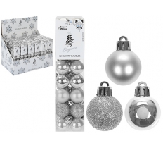 SET OF 32 2.5CM SILVER BAUBLES IN PVC BOX