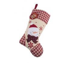 Deluxe Plush Tartan Snowman Christmas Stocking 40cm X 25cm