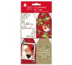 CHRISTMAS TAGS 20 CO-ORD ELEGANT TRADITIONS