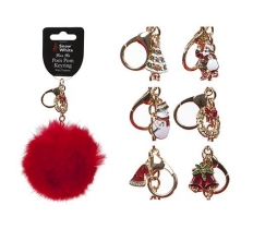 10CM RED FAUX FUR KEYRING POM POMS WITH TRINKET