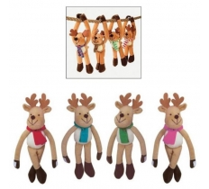 28cm Plush Hanging Reindeer with Fastener Hands
