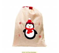 Deluxe Plush Penguin Christmas Sack 50cm X 70cm