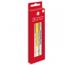 CHRISTMAS ACTIVITY GEL PENS SILVER & GOLD 3 PACK