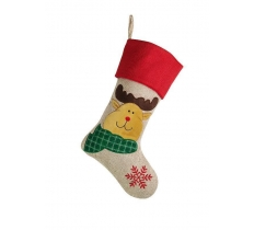Deluxe Plush Hessian Effect Christmas Stocking 40cm X 25cm