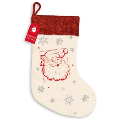 CHRISTMAS SANTA STOCKING CANVAS / GLITTER (STOCKING ONLY)