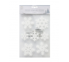 FLOCKED SNOWFLAKES STICKER 14pc 2 SHEETS