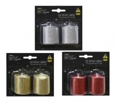 LED VOTIVE CANDLE 2pc GLITTER